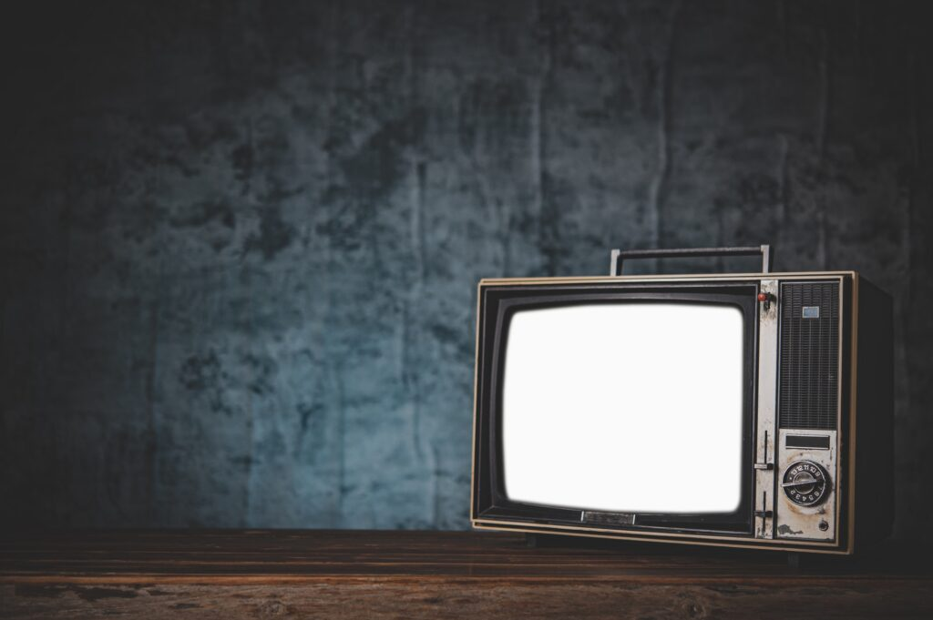 still life with Retro old TV.